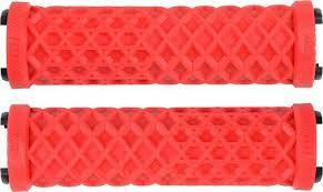 ODI VANS GRIPS LOCK ON RED WITH WHITE CLAMPS