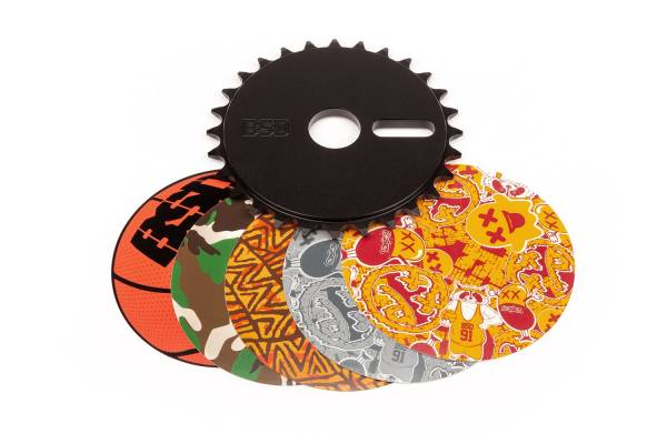 BSD SPROCKET 28T STICKER BOMB DISC Black or Silver